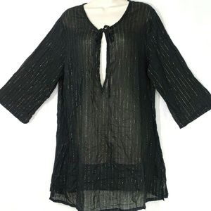 Avenue Sheer Tunic Top Women Size 18W 20W Black
